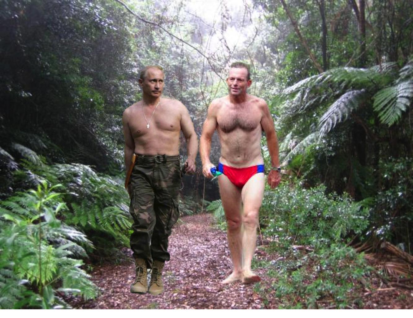 Putin And Abbott Bond Over Bare Chested Tiger Wrestling The Shovel
